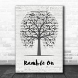 Led Zeppelin Ramble On Music Script Tree Song Lyric Wall Art Print