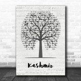 Led Zeppelin Kashmir Music Script Tree Song Lyric Wall Art Print