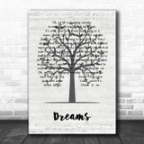 The Cranberries Dreams Music Script Tree Song Lyric Wall Art Print