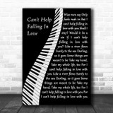 Elvis Presley Can't Help Falling In Love Piano Song Lyric Wall Art Print