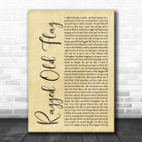 Johnny Cash Ragged Old Flag Rustic Script Song Lyric Wall Art Print