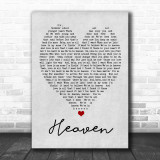 Heaven Bryan Adams Grey Heart Song Lyric Music Wall Art Print