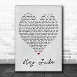 Hey Jude The Beatles Grey Heart Song Lyric Music Wall Art Print