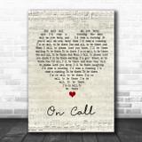 Kings Of Leon On Call Script Heart Song Lyric Wall Art Print