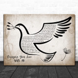 George Strait Carrying Your Love With Me Vintage Dove Bird Song Lyric Wall Art Print