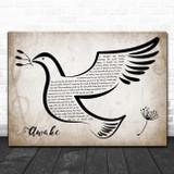 Josh Groban Awake Vintage Dove Bird Song Lyric Wall Art Print