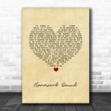 Simon & Garfunkel Homeward Bound Vintage Heart Song Lyric Wall Art Print