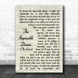 Andy Williams The Impossible Dream (The Quest) Vintage Script Song Lyric Wall Art Print