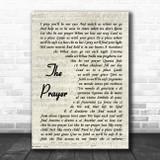 Celine Dion & Andrea Bocelli The Prayer Vintage Script Song Lyric Wall Art Print