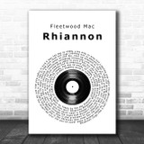 Fleetwood Mac Rhiannon Vinyl Record Song Lyric Wall Art Print