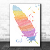 Maren Morris GIRL Watercolour Feather & Birds Song Lyric Wall Art Print
