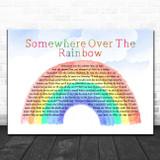 Israel Kamakawiwo'ole Somewhere Over The Rainbow Watercolour Rainbow & Clouds Song Lyric Wall Art Print