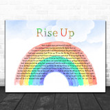 Andra Day Rise Up Watercolour Rainbow & Clouds Song Lyric Wall Art Print