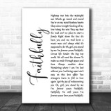 Journey Faithfully White Script Song Lyric Wall Art Print
