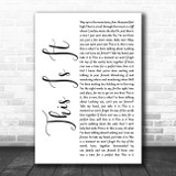 Scotty McCreery This Is It White Script Song Lyric Wall Art Print