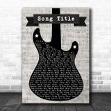 Any Song Lyrics Custom Electric Guitar Music Script Song Lyric Print