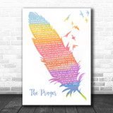Andrea Bocelli & Celine Dion The Prayer Watercolour Feather & Birds Song Lyric Print