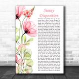Avenged Sevenfold Sunny Disposition Floral Poppy Side Script Song Lyric Print
