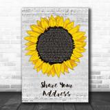 Ben Platt Share Your Address Grey Script Sunflower Song Lyric Print