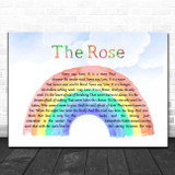 Bette Midler The Rose Watercolour Rainbow & Clouds Song Lyric Print
