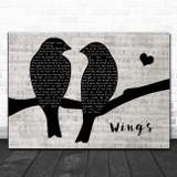 Birdy Wings Lovebirds Music Script Song Lyric Print