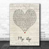 Blue Fly By Script Heart Song Lyric Print