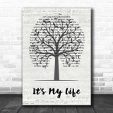 Bon Jovi It's My Life Music Script Tree Song Lyric Print