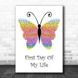 Bright Eyes First Day Of My Life Rainbow Butterfly Song Lyric Print