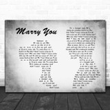 Bruno Mars Marry You Man Lady Couple Grey Song Lyric Print