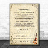 Chris Norman Peace In Our Time Vintage Guitar Song Lyric Print