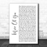 Chris Stapleton More Of You White Script Song Lyric Print