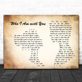 Chris Young Who I Am with You Man Lady Couple Song Lyric Print