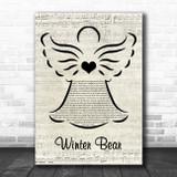 Coby Grant Winter Bear Music Script Angel Song Lyric Print