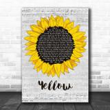 Coldplay Yellow Grey Script Sunflower Song Lyric Print