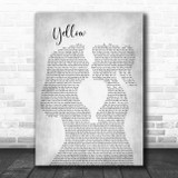 Coldplay Yellow Lesbian Women Gay Brides Couple Wedding Grey Song Lyric Print