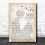 Dan + Shay & Justin Bieber 10,000 Hours Man Lady Bride Groom Wedding Song Lyric Print