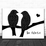 Dina Carroll So Close Lovebirds Black & White Song Lyric Print