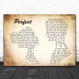 Ed Sheeran Perfect Man Lady Couple Song Lyric Music Wall Art Print