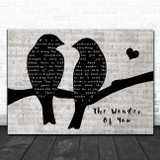 Elvis Presley The Wonder Of You Lovebirds Music Script Song Lyric Print