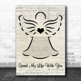 Eric Benet Spend My Life With You Music Script Angel Song Lyric Print