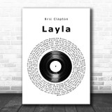 Eric Clapton Layla Vinyl Record Song Lyric Print