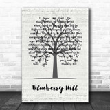 Fats Domino Blueberry Hill Music Script Tree Song Lyric Print