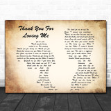 Bon Jovi Thank You For Loving Me Man Lady Couple Song Lyric Music Wall Art Print