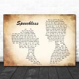 Dan + Shay Speechless Man Lady Couple Song Lyric Music Wall Art Print
