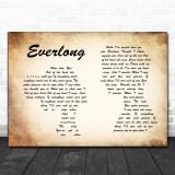 Foo Fighters Everlong Man Lady Couple Song Lyric Music Wall Art Print