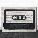 Indigo Girls Closer to Fine Music Script Cassette Tape Song Lyric Print