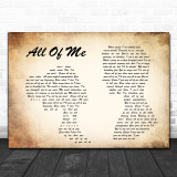 John Legend All Of Me Man Lady Couple Song Lyric Music Wall Art Print