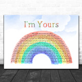 Jason Mraz I'm Yours Watercolour Rainbow & Clouds Song Lyric Print