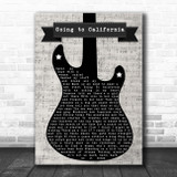 Led Zeppelin Going to California Electric Guitar Music Script Song Lyric Print