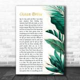 Lighthouse Family Ocean Drive Gold Green Botanical Leaves Side Script Song Lyric Print